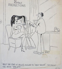 Dessin original cartoon humour érotique daté 1977 Playboy Adam Signé LUTNER
