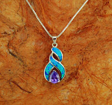 Silver Pendant w/ Opal Inlay and Center Amethyst Stone with Chain,Necklace.