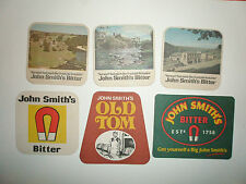 6 JOHN SMITH'S  BEERMATS ALL SHOW SMALL BEER STAINS (PLEASE SEE THE PHOTOGRAPHS)
