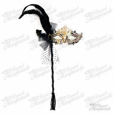 Handheld Stick Mask, Women Gold Luxury Metal Venetian Masquerade Mask