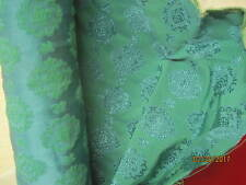 Vintage 1960's Sateen Brocade turquoise blue green Drapery Upholstery Fabric