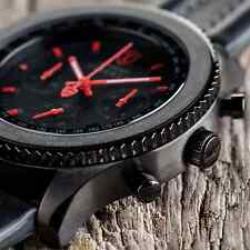 ��DETOMASO FIRENZE XXL 48 MM MENS CHRONOGRAPH WATCH BLACK S-STEEL RED HANDS NEW