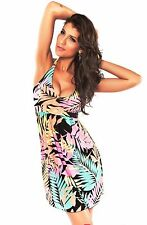 Woman's Ladies Summer Leaf Print Holiday Beach Cover Up Hot Tub Swimwear Dress