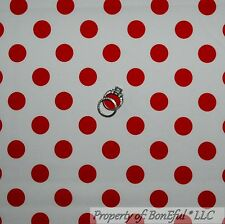 BonEful FABRIC Cotton Quilt White Red Polka Dot Disney Minnie Mouse Xmas L SCRAP