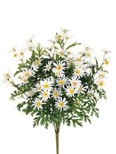 "6 Artificial 24"" Farmhouse Daisy Bush White Silk Flower Bouquet Wedding Decor"