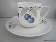 Rosenthal DONATELLO Blaue Kirsche KAFFEETASSE & UNTERTASSE 2tlg Cup Saucer Clas