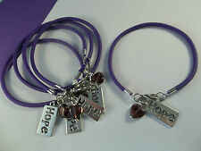 5-'HOPE HEART' PANCREATIC CANCER/ALZHEIMER'S/LUPUS AWARENESS BRACELETS