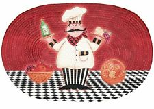 """OVAL RARE FAT CHEF & FOOD BRAIDED KITCHEN RUG RED (20"""" x 30"""")"""
