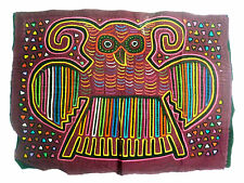 SUPERB OWL MOTIF KUNA CULTURE MOLA ART ETHNOGRAPHIC TEXTILE BLOUSE PANEL ETHNIX