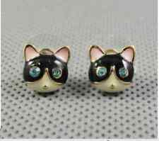 E214 Betsey Johnson Little Cute Black Cat Cute Kitten Kitty Tabby Earrings  UK