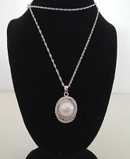 genuine 925 sterling silver  freshwater  Round  pearl zircon pendant necklace UK