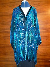 Velvet devore jacket.  Blue/jade green floral design  Size to 28.   NEW