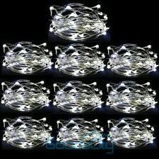10 Lot Cool white 10FT/3M Battery Powered Copper Wire 30 Led String Fairy Light