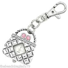NEW FIRST HAND PURSE HANDBAG KEYCHAIN WATCH SILVER PLATED with Pink Crystals