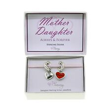 925 Sterling Silver Mother Daughter Pendant Charm Set Gift Boxed Mothers Day