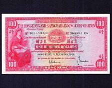 HONG KONG 100 DOLLARS 1965 P-183  VF