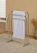 Chrome Finish Towel Rack Bathroom Stand Shelf Three Bars