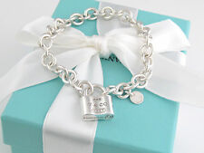 Tiffany & Co 1837 Silver Padlock Lock Charm Bracelet Box Pouch Ribbon Included