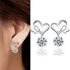 New Sliver Plated Crystal Zircon Fine Fashion Jewelry Butterfly Stud Earrings