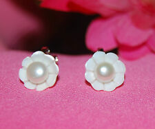 Genuine Freshwater Pearl and Mother of Pearl Flower Clip-on Earrings