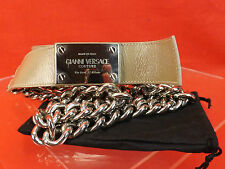 NWT GIANNI VERSACE NUDE LEATHER 2 CHAINS SILVER TONE BUCKLE BELT 85 34 $1050