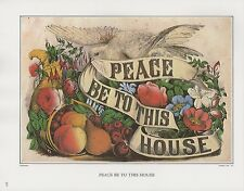 """1972 Vintage Currier & Ives """"PEACE BE TO THIS HOUSE"""" WOW! Color Print Lithograph"""