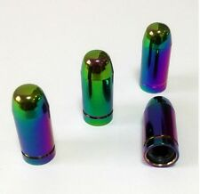 Neo Chrome Rainbow Bullet Tyre Wheel Valve Bullet Dust Caps x4 Car Bike BMX Blox