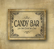 Candy Bar Wedding Sign Love is Sweet Take a Treat  5x7 Vintage Black tie design