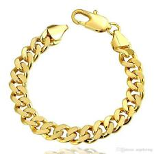 """18K GOLD PLATED 8"""" MEN'S CURB BRACELET 10mm Links - Lobster claw clasp"""