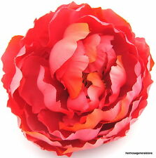 """Large 5"""" Coral Peony Silk Flower Hair Clip, Weding, Prom, Dance, Prom,Bridal"""