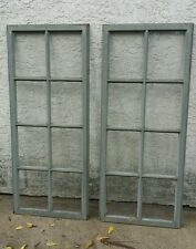 "Vtg Antique Set 2 Windows Wood 8 Lights 57"" Architectural Salvage Wedding Nice!"