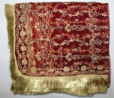 Indian Dupatta Long Stole Net Hand Beaded Wedding Veil Zardozi Sequins Maroon