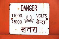Vintage Indian Advertising Enamel Signboard Danger 11000 Volts SBD9 ANTIQUE EDH