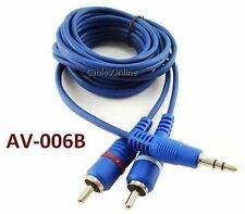"6ft Value-Series 3.5mm (1/8"") Stereo Male to 2-RCA Male Blue Audio Cable AV-006B"