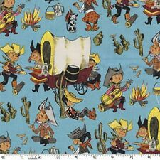 Fat Quarter Covered Wagon Chuckwagon Whimsical Cowboys Cotton Quilting Fabric