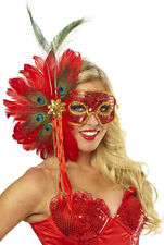 SPANISH PEACOCK RED SEQUIN FEATHER MASK MARDI GRAS MASQUERADE COSTUME MASKS
