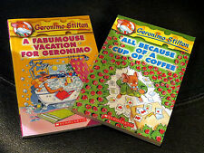 """Two Geronimo Stilton paperback kids books: """"Cup of Coffee,"""" """"Fabu-mous Vacation"""""""