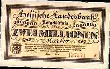 1923 Germany Darmstadt 2000000 / 2 Million Mark Banknote