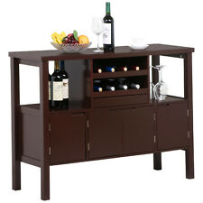 Wooden Kitchen Buffet Cabinet Dining Room Sideboard Table With Wine Racks Coffee