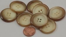 "Lot of 8 Large Shiny Cream Beige Brown Plastic Coat Buttons 1 1/8"" 28mm # 6944"