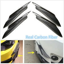 4XReal Carbon Fiber Front Bumper Splitter Fins Body Spoiler Canards Valance Chin