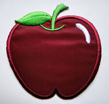 CUTE PRETTY MAROON APPLE Embroidered Iron on Patch Free Postage