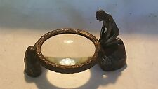 Bausch & Lomb vintage Art Nouveau antique bronze magnifying glass paperweight