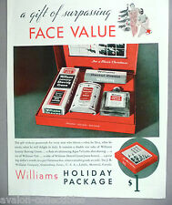 Williams Holiday Gift Package PRINT AD - 1934 ~Aqua Velva, Shave Cream,Christmas