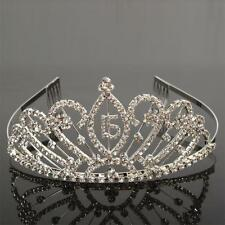New Popular Elegant 15 Year Old Ceremony Rhinestone Crown Headband Tiaras