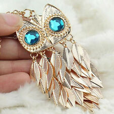 Metal Necklace Pendant With Leaves Owl Long Chain Women Jewelry Accessories LCA
