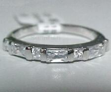 925 STERLING SILVER BAGUETTES & ROUND CZ BAND RING SIZE 7