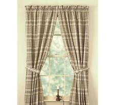LINED CURTAIN PANELS 72WX84L THYME BURG GREEN TAN IVORY PLAID COTTON COUNTRY