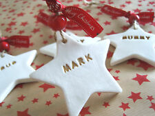 Handmade Gorgeous White Clay Christmas Tree Ornaments/Tags/Keepsakes with names
