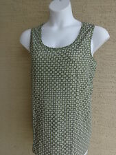 New Ellos Cotton Scoop Neck Tank Top M Olive & White Floral